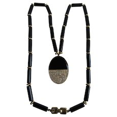 Vintage Signed Givenchy Enamelled and Pave Paste Pendant with Lucite Rod Necklace