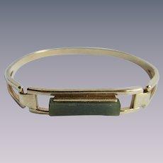 Vintage Signed Avon Nephrite Jade Geometric Cuff Style Locking Bracelet