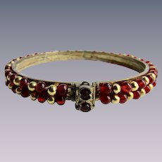 Vintage Ruby Red Glass Cabochon GP and GP Ball Woven Cuff Locking Bracelet