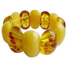 Vintage Natural Baltic Amber Heat Treated Two Tone Beeswax and Honey Reformed Elastic Link Bracelet