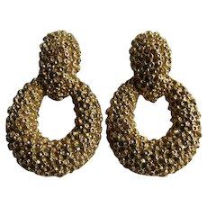 Vintage Signed Panetta Brutalist Style Doorknocker Clip Gold Plated Earrings