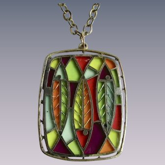 Vintage Pop Art Resin Stained Glass Fish Motif Pendant on thick GP Chain