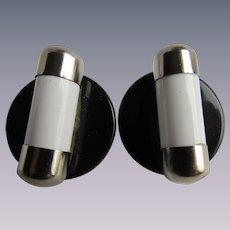 Vintage Modernist Galalith White Tubes on Black Disc Clip Earrings