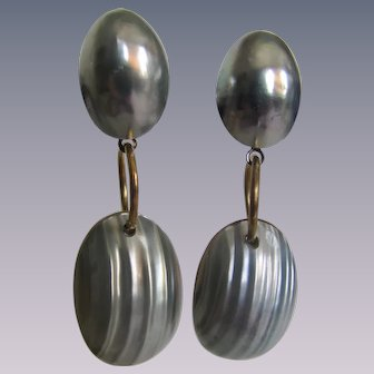 Vintage Osmina Shell Mabe Pearl  Dangling Pieced Earrings with New Backs