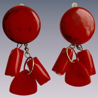 LC Red Bakelite Drop and Dangle Pierced SP Lever back Earrings