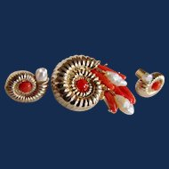 Vintage Nautilus Shell Design Natural Red Coral and Freshwater Cultured Pearl GP Brooch and Pierced Earrings