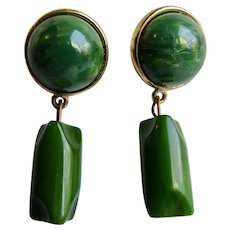 LC Green Bakelite Drop and Dangle Pierced GP Bakelite Dome Cabochon Pierced Earrings