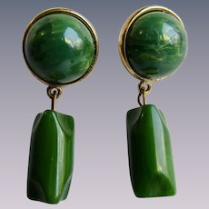 LC Green Bakelite Drop and Dangle Pierced GP Bakelite Dome Cabochon Post Earrings