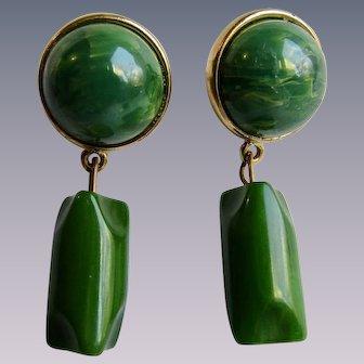 LC Green Bakelite Drop and Dangle Pierced GP Bakelite Dome Cabochon Post Earrings
