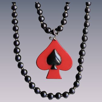 Vintage Red and Black Spade Early Plastic with Extra Long Black Bead Necklace