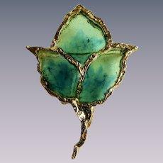Vintage Signed Joy Resin Plique a Jour Stained Glass Resin Brutalist Style Green Leaf GP Brooch