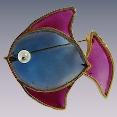 Vintage Signed  Joy Resin Plique a Jour Stained Glass Fish GP Brooch