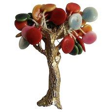 Vintage Signed  Joy Resin Brutalist Full Bloom Balloon Shapes Ceramic in Tree GP Brooch