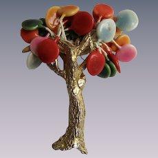Vintage Signed  Joy Resin Brutalist Full Bloom Balloon Shapes in Tree GP Brooch