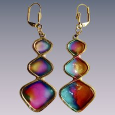 Vintage Resin Stained Glass Style Graduated Geometric Pierced GP Leverback Earrings