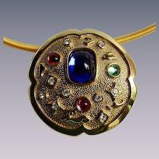 Vintage Signed Parklane Glass Cabochon Brooch/Pendant Necklace