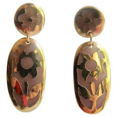 Vintage Resin Stained Glass Style Flower Pierced GP Pierced Earrings