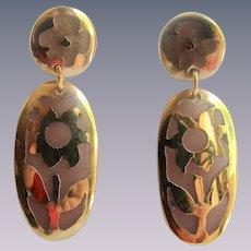Vintage Resin Stained Glass Style Flower Pierced GP Pierced Earrings