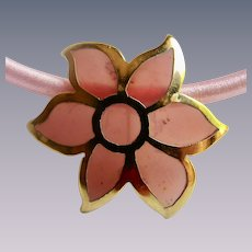 Vintage Resin Stained Glass Style  Flower GP Brooch