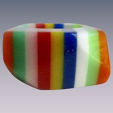 Vintage Laminated Lucite Rainbow Coloured with Angles Size 6  Ring
