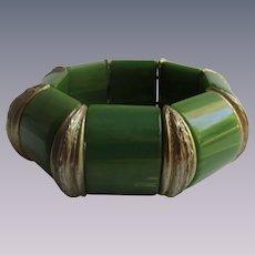 Vintage Green Bakelite Stretch Elastic Link Bracelet
