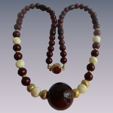 Vintage Signed Cadoro Bakelite, Wood and MOP Ruby 32 Inch Necklace