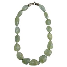 Vintage Genuine Aquamarine Graduated Facetted Natural and Freeform Nugget Bead Necklace