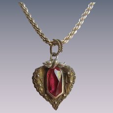 Vintage Signed Krementz Sterling GP Rope Chain Red Synthetic Spinel Gem in Heart Shape Pendant