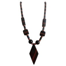 Art Deco Rhombus Galalith Pendant Red and Black Geometric Necklace