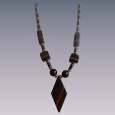 Art Deco Rhombus Pendant Red and Black Geometric Necklace