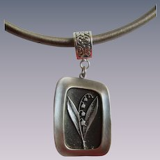 Vintage Signed R. Tennesmed of Sweden Pewter Lily of the Valley Pendant