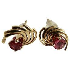 Vintage 14kt Genuine Ruby Pierced Earrings