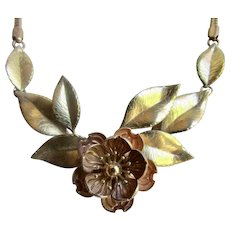 Vintage Signed Krementz Rose and Yellow Gold Overlay Flower and Leaf Motif Centerpiece Necklace