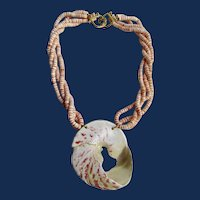 Vintage Signed Kenneth Lane Giant Shell and Conch Heishi 22k GP Hook Closure Torsade Necklace