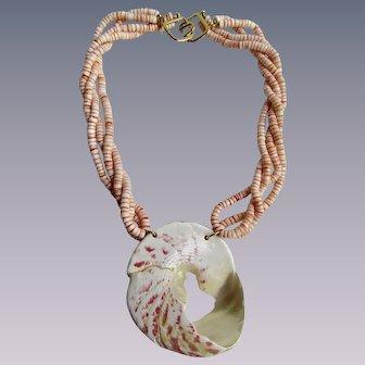 Vintage Signed Kenneth Lane Giant Shell and Conch Heishi 22k GP Hook Closure Torsade Necklace
