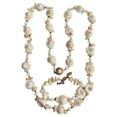 Vintage Signed Miriam Haskell Shell Conch Tip and MOP Necklace and Bracelet Demi Parure Set