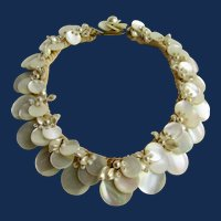 Vintage Unsigned Mother of Pearl Floral Motif Silk Cord Choker Necklace
