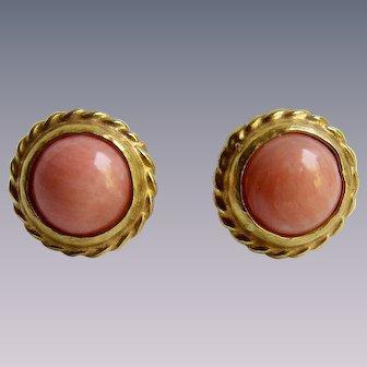 Vintage Natural Angel Skin Coral Cabochon Silver GP Pierced Earrings