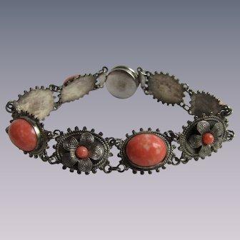 Vintage 800 Silver Filagree Glass Coral Cabochon Button Closure Bracelet