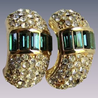 Vintage GP Paste Emerald Baguette and Green Paste Curved Pierced Earrings