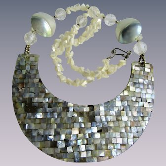 Vintage Mother of Pearl Tile Half Moon Shape Centrepiece Necklace