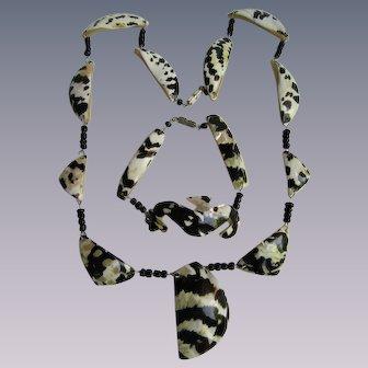 Vintage Striped Shell Link Bracelet and Necklace Set