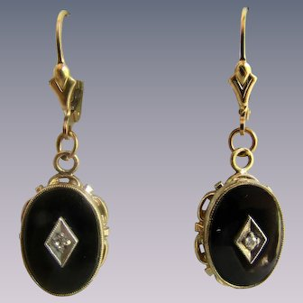 Vintage 14k GF Onyx with Real Diamond Mounted in the Centre Lever back Earrings