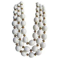 Vintage Signed Trifari 3 Strand Cream White Lucite Graduated 1960's Suspended Animation Series Bead Necklace