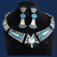 Vintage MOP and Turquoise Chip Inlaid Geometric Pattern Necklace and Earrings Set