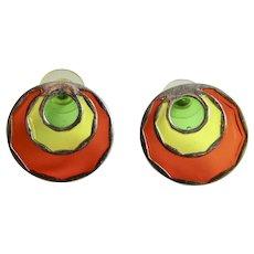 Vintage Pop Art Resin Stained Glass Plique a Jour Orange, Yellow, Green Pierced Earrings