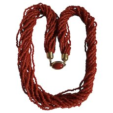 Vintage Natural Red Salmon Coral Torsade Seed Bead Necklace