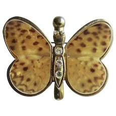 Vintage MOP Hand Painted Finish with Rhinestones Butterfly Brooch