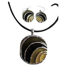 Vintage Resin Stained Glass Plique a Jour effect Pendant on Cord with matching Pierced Earrings