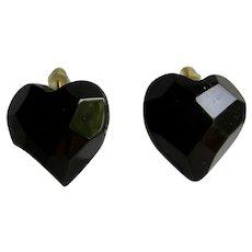 Antique Genuine Whitby Jet Facetted Black Heart  GP Lever back Pierced Earrings